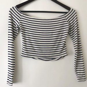 Revolve Lovers + Friends Cropped Striped Tee Shirt